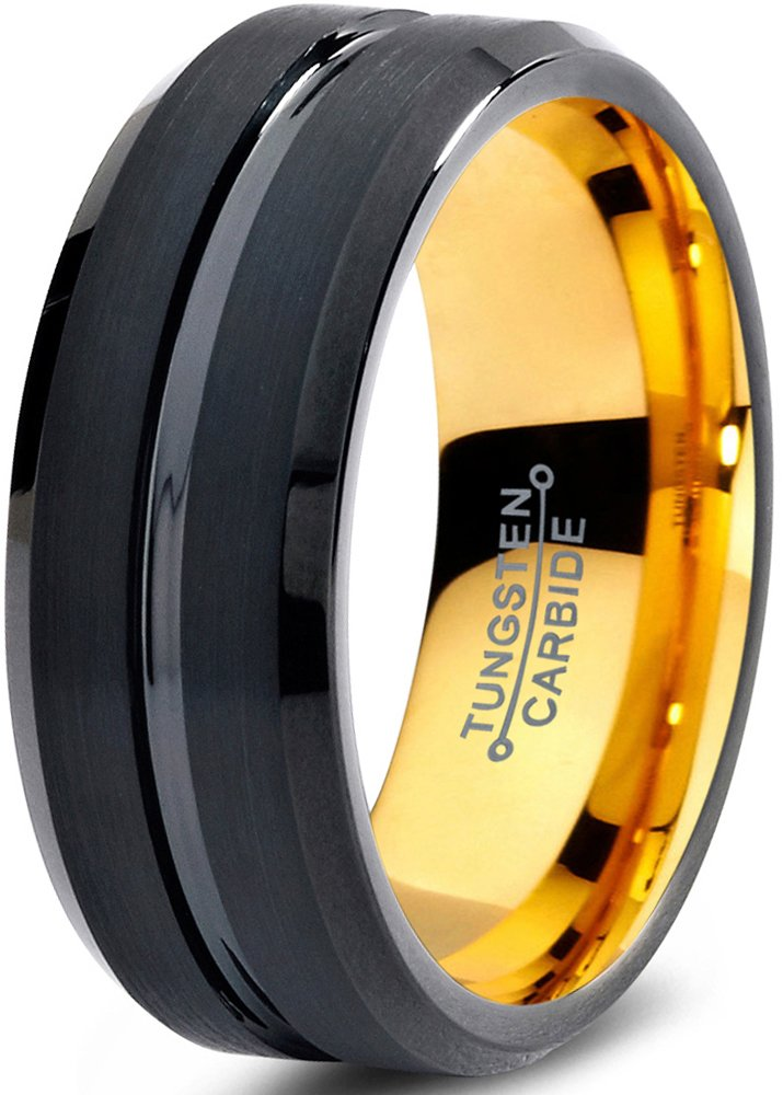 Tungsten Wedding Band Ring 8mm for Men Women Black Rose Yellow Gold Plated Beveled Edge Brushed Polished Charming Jewelers MDC-706-8