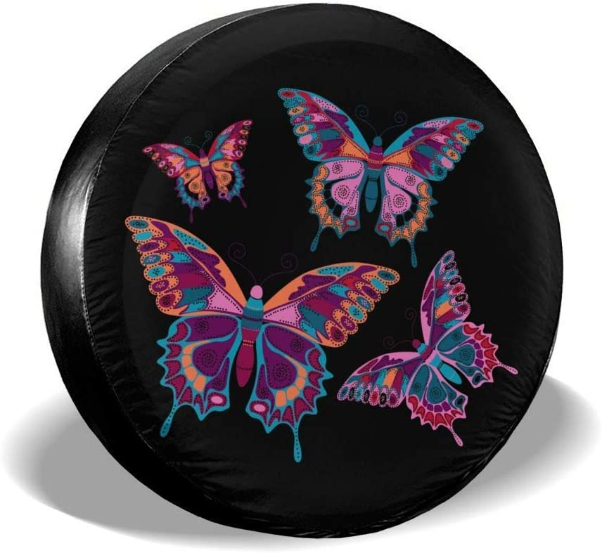 N////A Premium Quality Spare Wheel Tire Covers,Weatherproof Tire Protectors,Flowers Butterflies Tough Waterproof Spare Tire Cover Universal Fits Jeep Rv Suv Trailer Truck Camper 14 inch