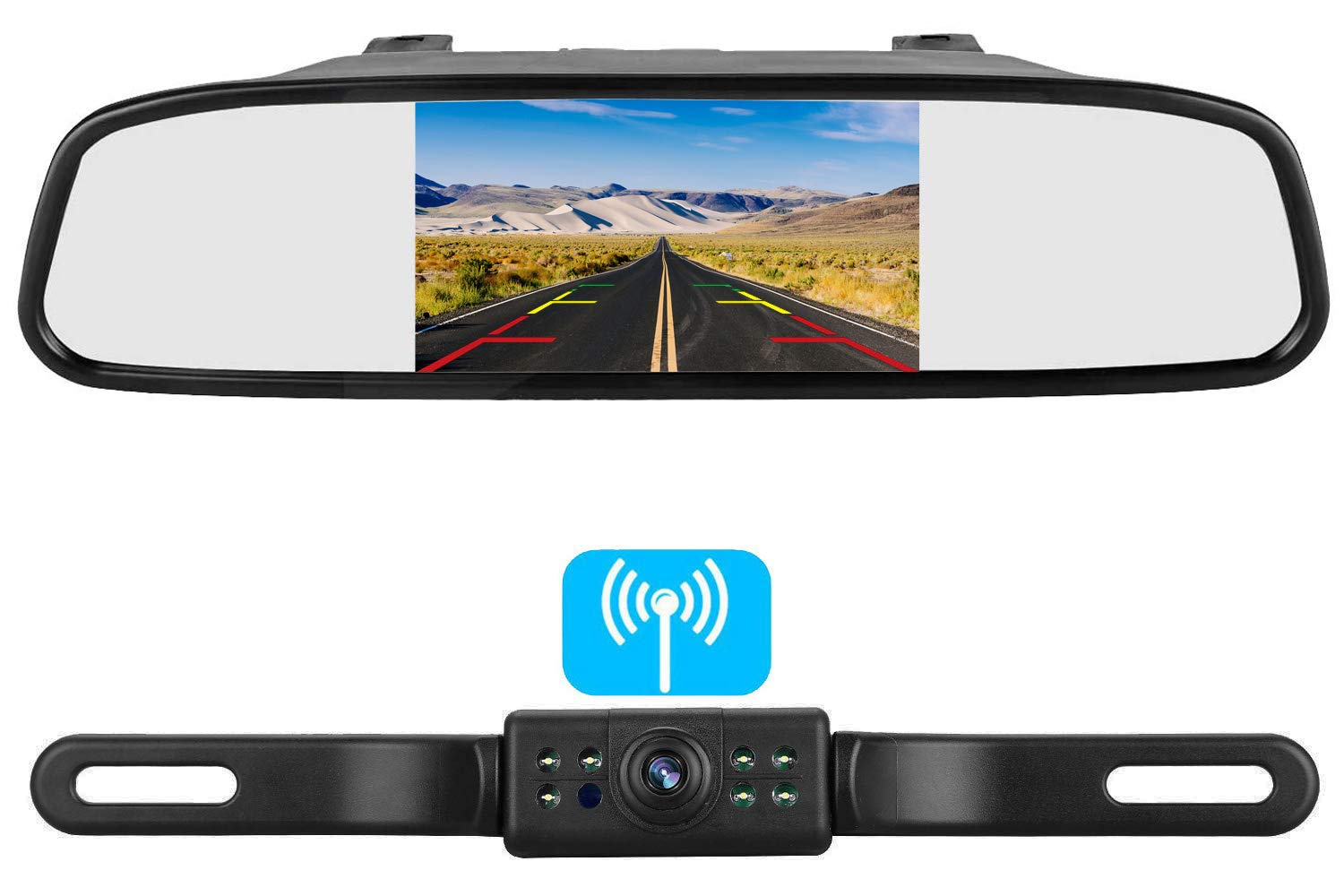 Rear View Camera and Mirror Monitor Kit for Car Truck With 8 LED Night Vision WaterProof Grid Lines XYH Mirror Monitor
