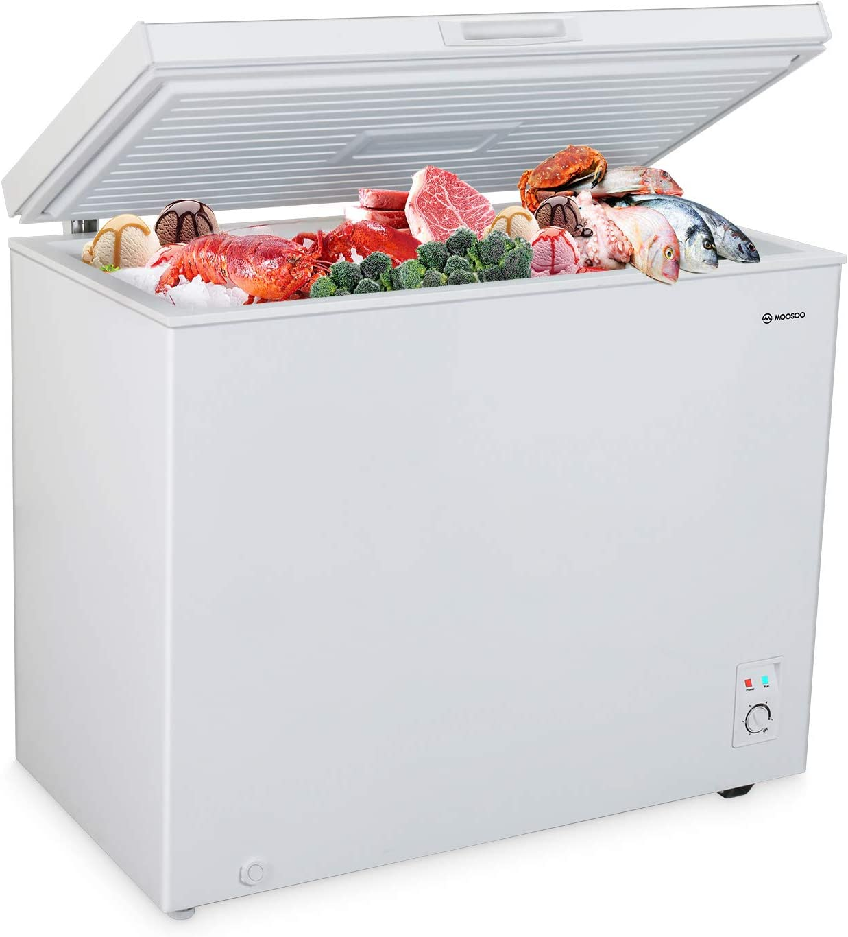 MOOSOO Chest Freezer, 7.0 Cubic Feet Deep Freezer with Energy Saving and Low-Noise, 5 Gears Adjustable Temperature, with Removable Storage Basket and Roller Movement