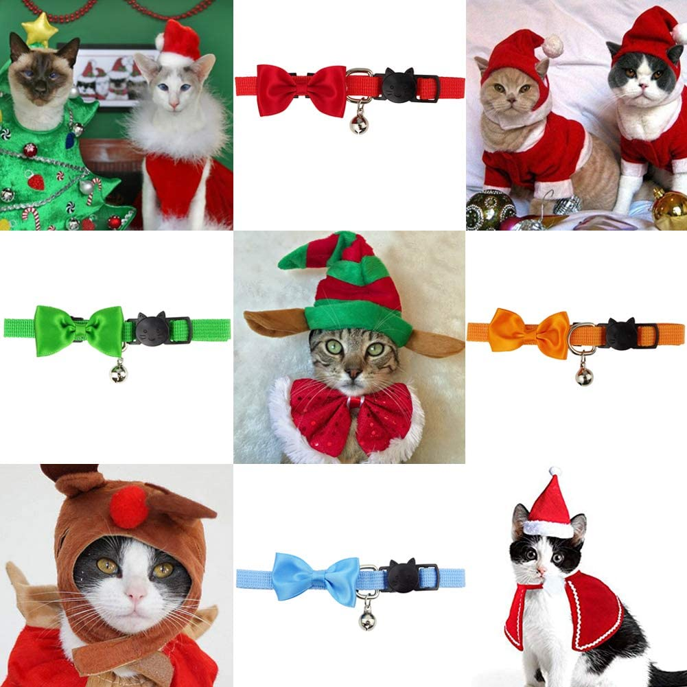RareLove Pack of 4 Breakaway Cat Collar with Bell Adjustable Christmas Color Pet Costume Accessory