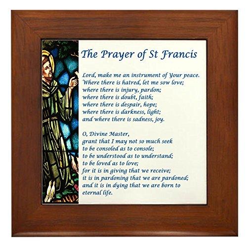 CafePress - The St Francis Prayer - Framed Tile, Decorative Tile Wall - Framed Tile