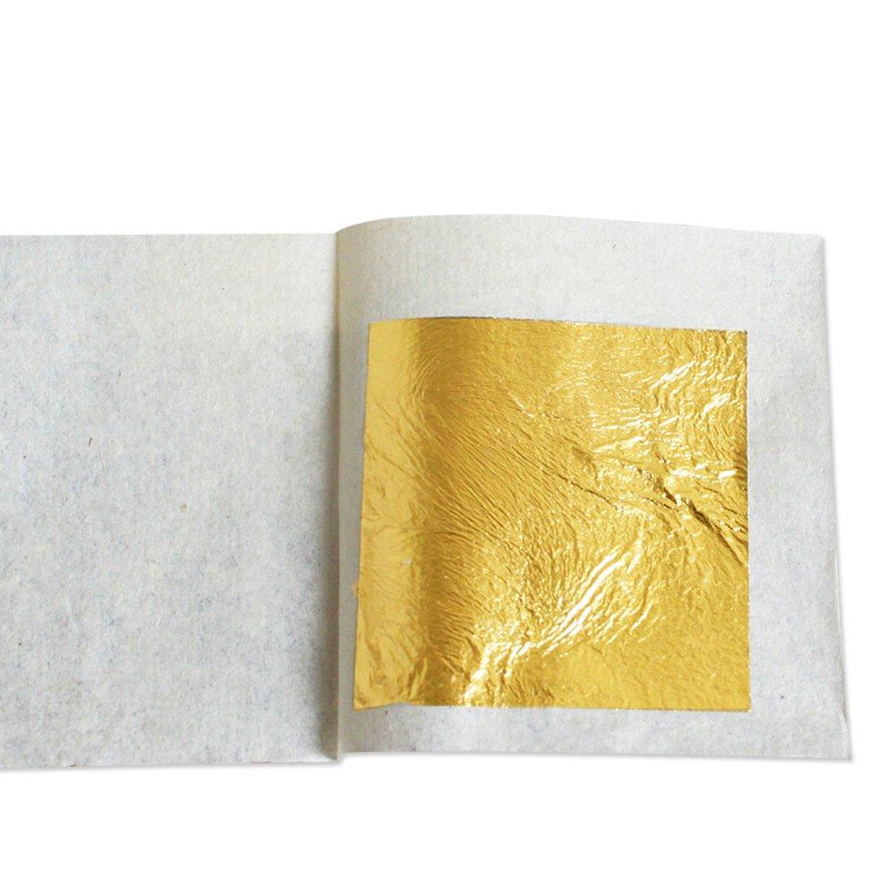 100 Sheets 4.33 X 4.33cm 24K Pure Genuine Facial Edible Gold Leaf Gilding Foil... YongBo