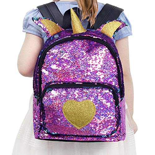 Mini Backpack for Girls Sparkle Flip Reversible Sequin Backpack Glitter Fashion Mermaid Bag Unicorn Backpack Purse Cute and Fun for Zoo Park Travel Beach and Daily Use -