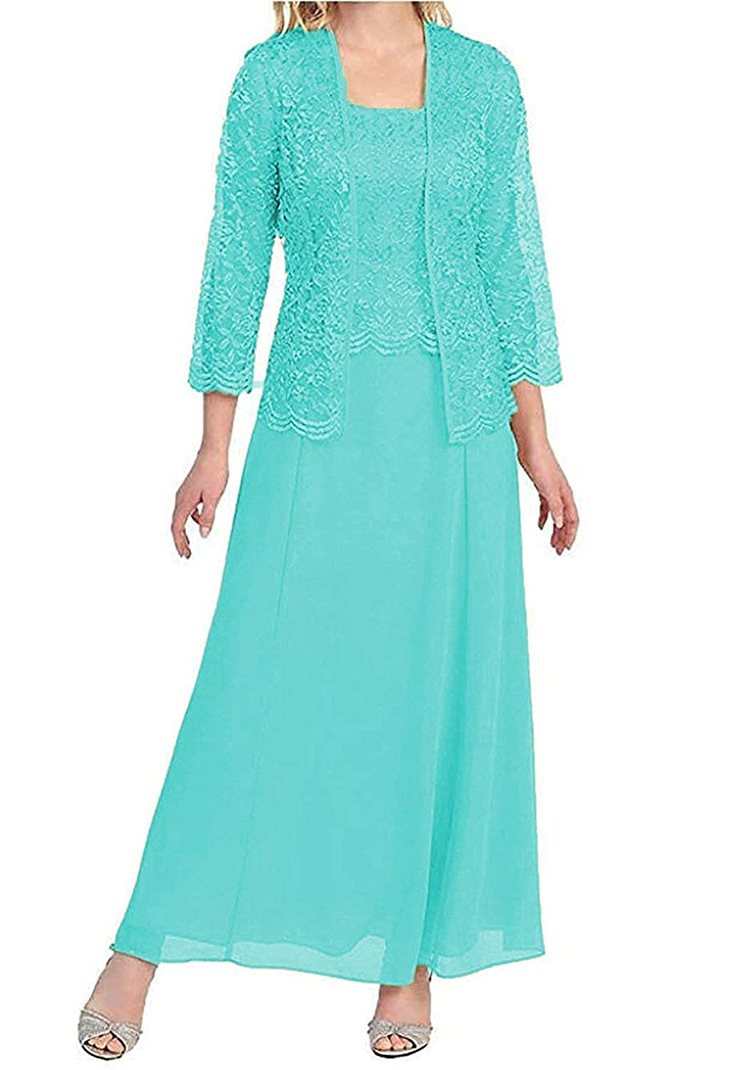 Turquoise Mother of The Bride Dresses with Jackets Formal Evening Gowns Long Sleeves Lace Mother Dress