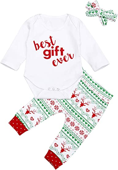 US Baby Girl My 1st First Christmas Outfit Ruffle T-shirt Tops Pants Xmas Set