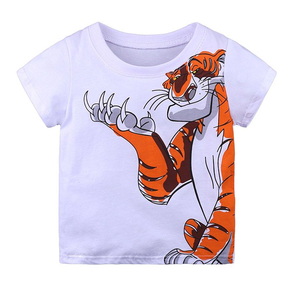 RONSHIN Kids Round-Neck T-Shirt with Cartoon Printing Stylish Tops