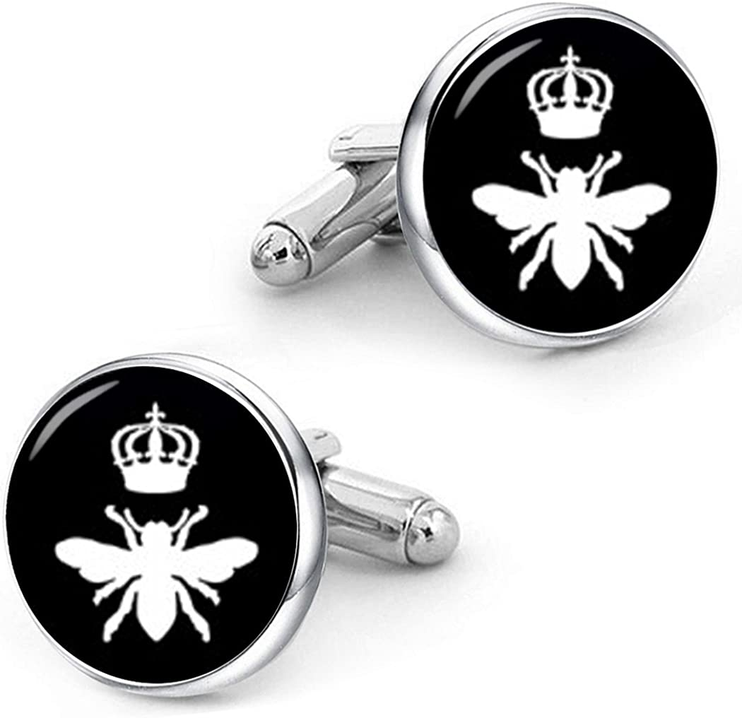 Kooer Queen Bee Cuff Links Personalized Wedding Cufflinks Jewelry Gift for Men