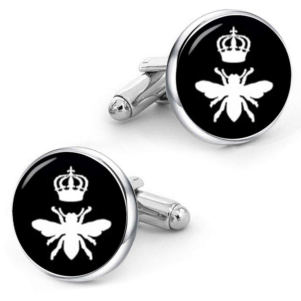 Kooer Queen Bee Cufflinks Custom Personalized Cuff Links Vintage Handmade Wedding Jewelry Gift (silver plated cufflinks)