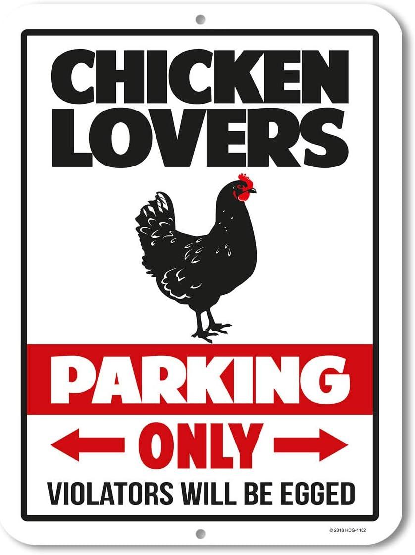 Honey Dew Gifts Chicken Decor, Chicken Lovers Parking Only, 9 x 12 inch Metal Aluminum Novelty Tin Sign Decor