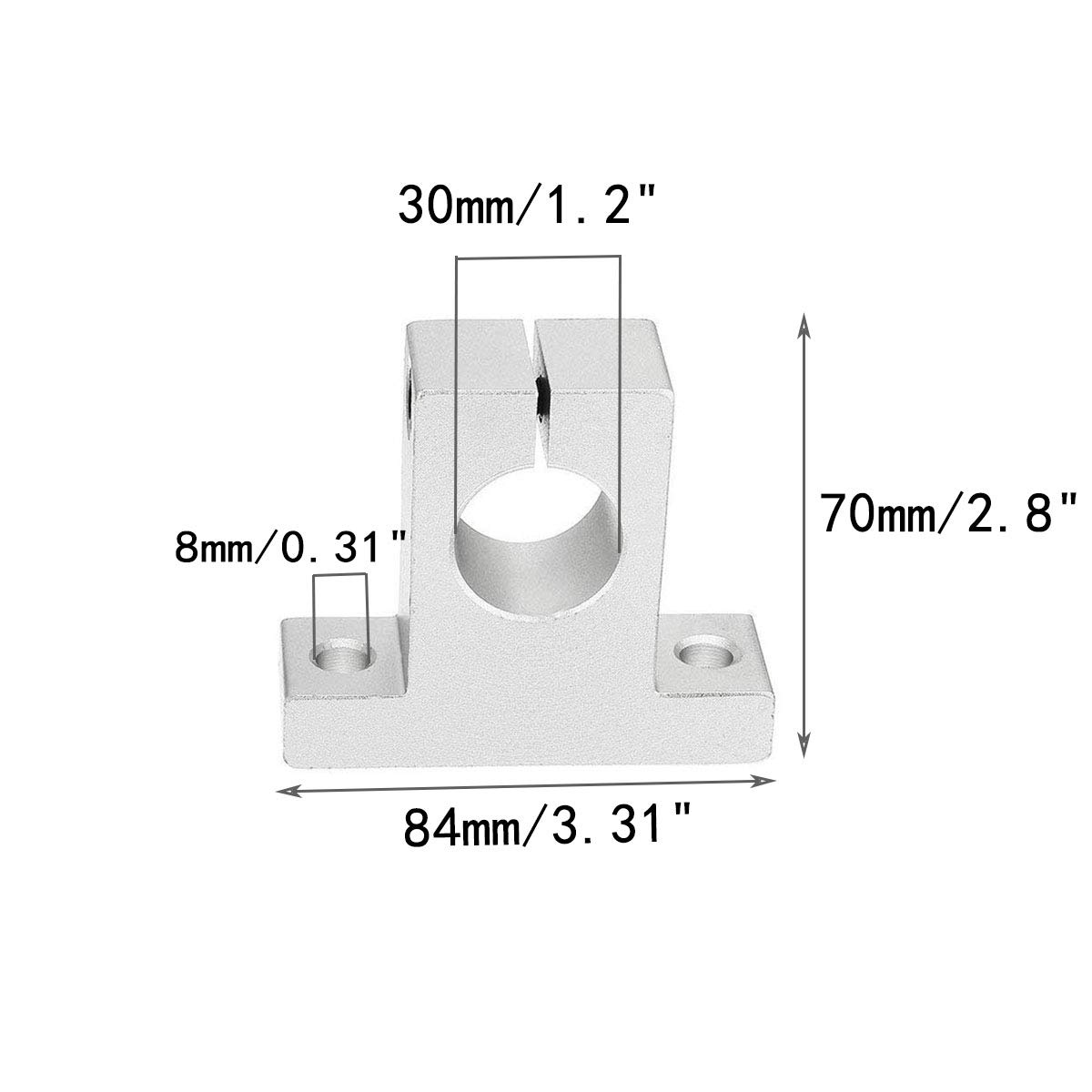 COMOK 2Pcs Aluminum SK30 30mm Inner Dia CNC Linear Motion Ball Slide Units Rail Support Guide Shaft Bearing