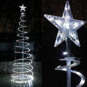 Yescom 6ft 182 LED Spiral Christmas Tree Light Star Topper Cool White Battery Powered Indoor Outdoor Holiday Decor Lamp 85