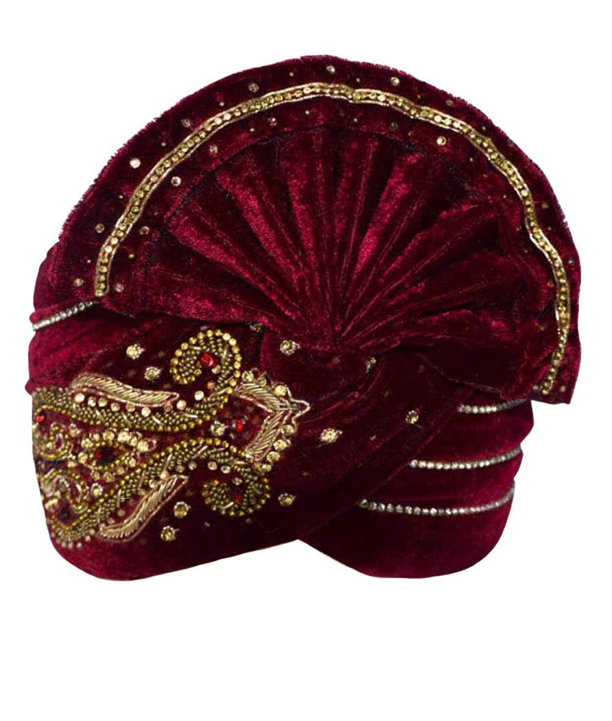 INMONARCH Mens Wonderful Embroidered Turban Pagari Safa Groom Hats TU1095 23H-Inch Maroon