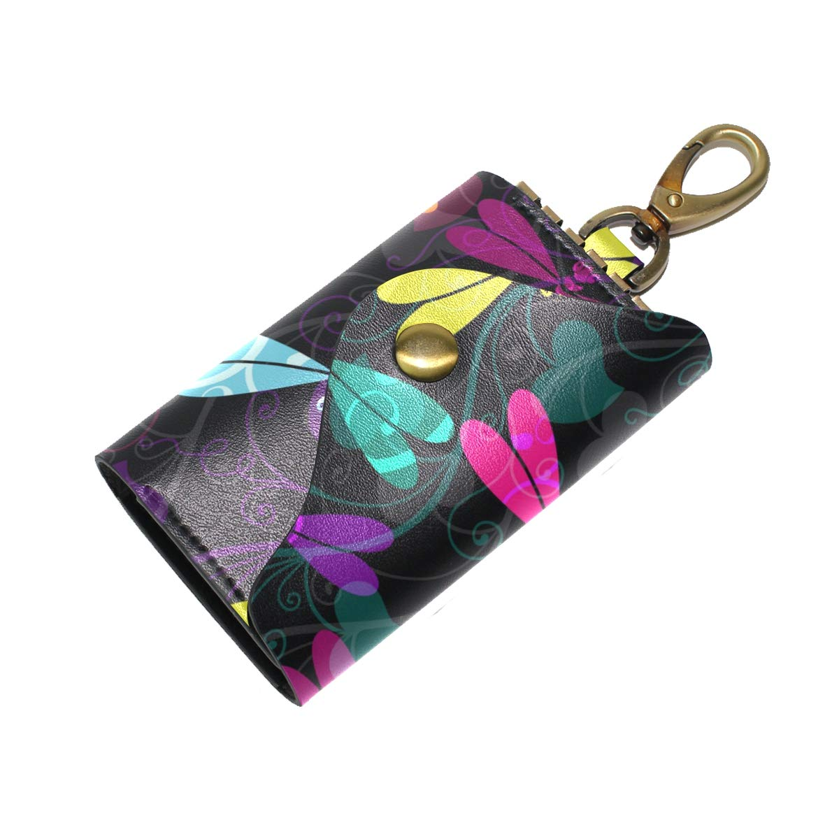 KEAKIA Dark Colorful Dragonflies Pattern Leather Key Case Wallets Tri-fold Key Holder Keychains with 6 Hooks 2 Slot Snap Closure for Men Women