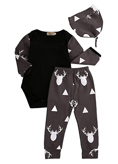 63acd9675c4 Amazon.com  Newborn Toddler Baby Boy Girl Deer Tops T-shirt Pants Leggings  Hat Outfits Set 3pcs  Clothing
