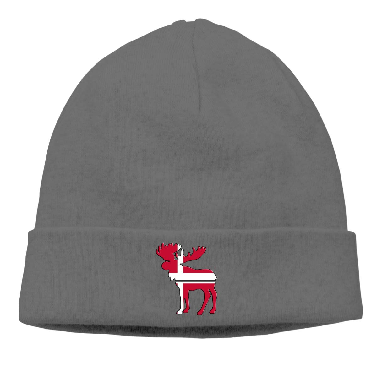 BBlooobow Men Women Moose Denmark Flag Soft Knit Beanie Caps