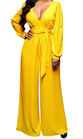 9636595d674 Amazon.com  LEO BON Womens Yellow Belted Long Sleeves Jumpsuit  Clothing