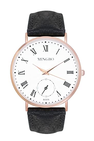 Reloj De Pulsera trenduhr Color Oro rosa negro rojo oro Cobre Oro Rosado Cuero Pulsera Unisex
