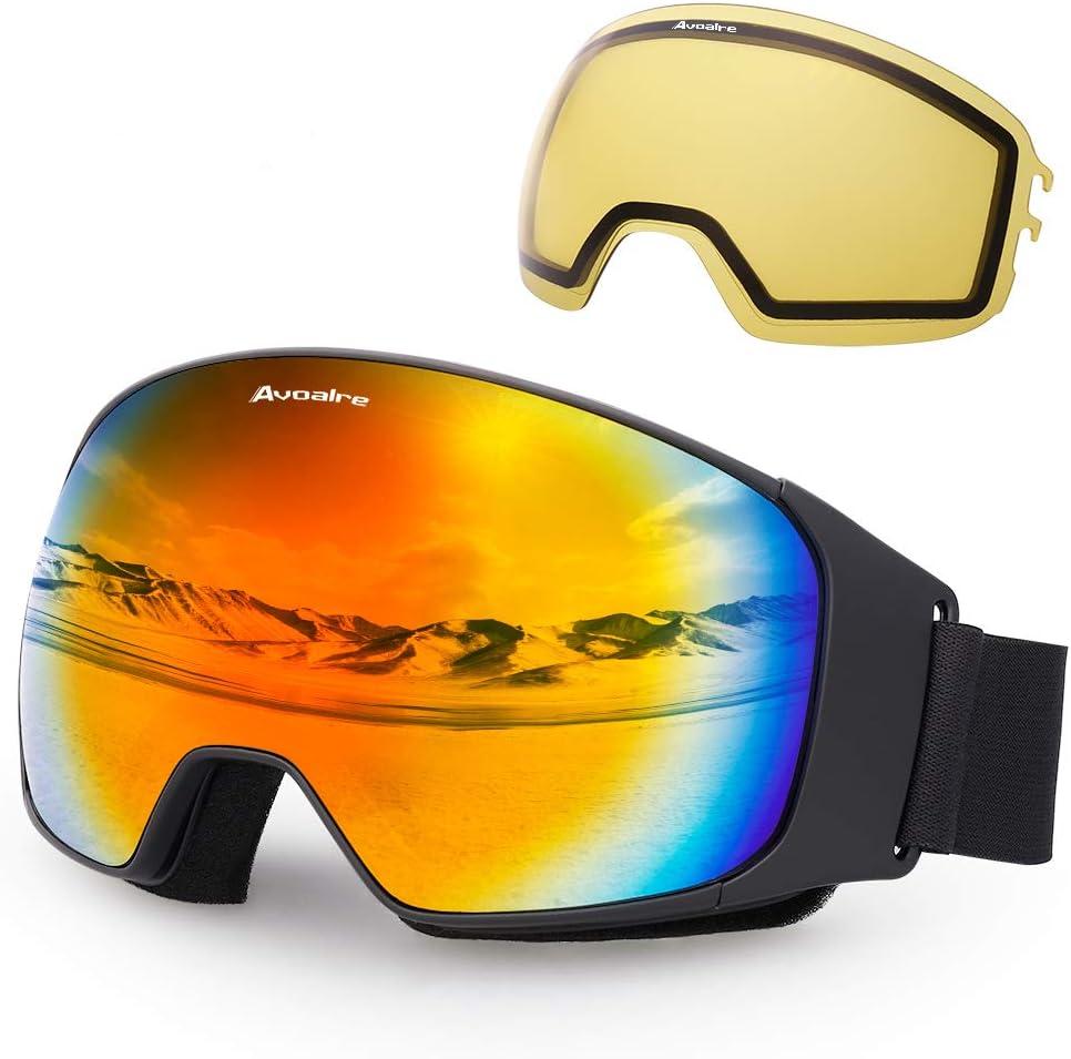 Avoalre Gafas de esquí Gafas de esquí antiniebla para Snowboard para Hombre Gafas de protección UV 100% para Mujeres con Lentes de Espejo esféricas Intercambiables (Rojo)