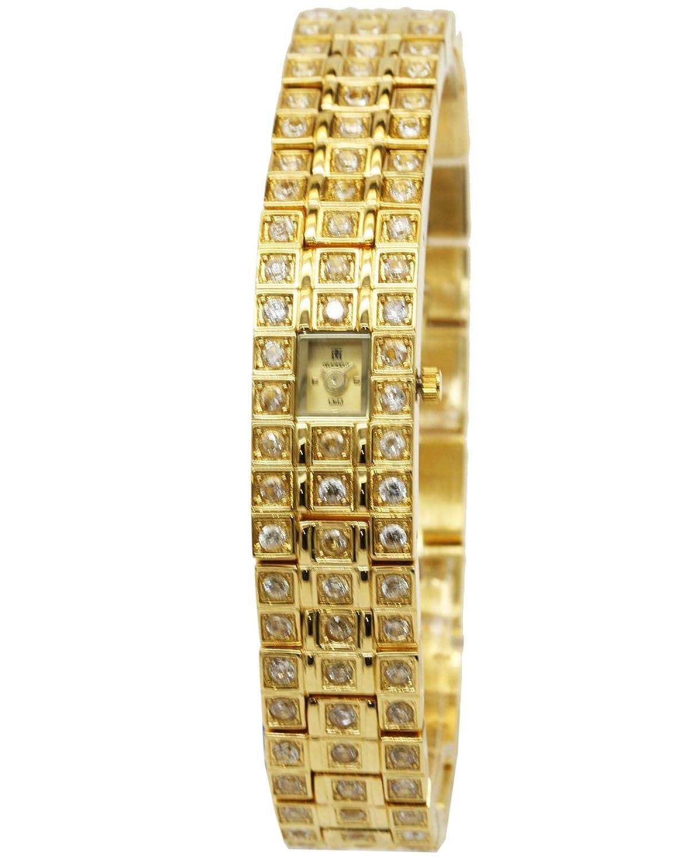 Q&Q Grandeux Damenuhr mit Goldfarbiges armband Analog Quarz Y009-010