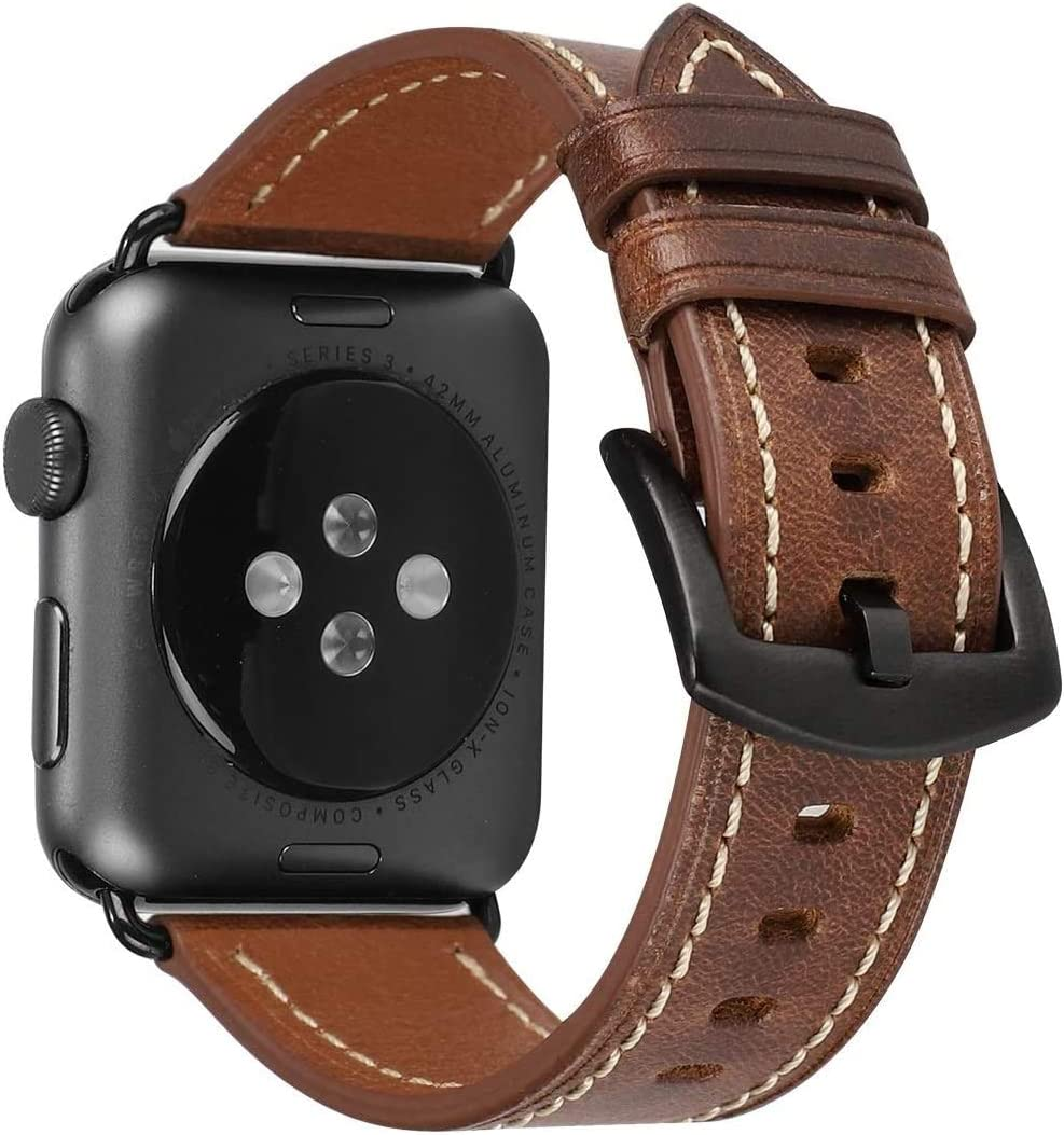 HUAFIY Compatible for apple Watch Band 42mm 44mm, Top Grain Leather Band Replacement Strap iWatch Series 5/4/3/2/1,Sport, Edition. New Retro Leather (Retro Camel Brown+Black Buckle 42mm 44mm)