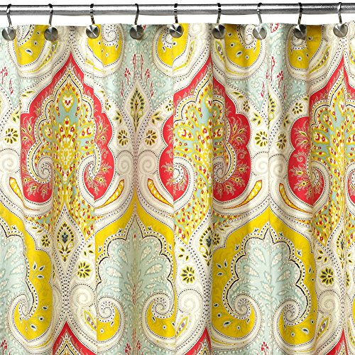 on Shower Curtain,Mildew Resistant Fabric Shower Curtain,Contemporary Shower Curtains for Bathroom,Print Bathroom Curtains,Paisley Waterproof Shower Curtain,72