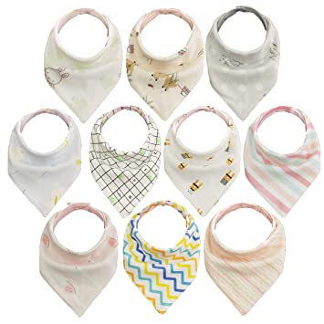 10pcs Baberos Bebe Baberos Bandanas, 100% algodón orgánico, suave y absorbente, Bebé Babero Bandana para recién nacidos bebé y niños: Amazon.es: Bebé