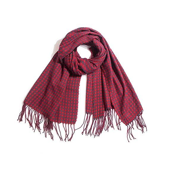 AFBLR Col écharpe châle Automne et hiver femme Cachemire petit carré pompon  écharpe à carreaux châle 69998c71de4