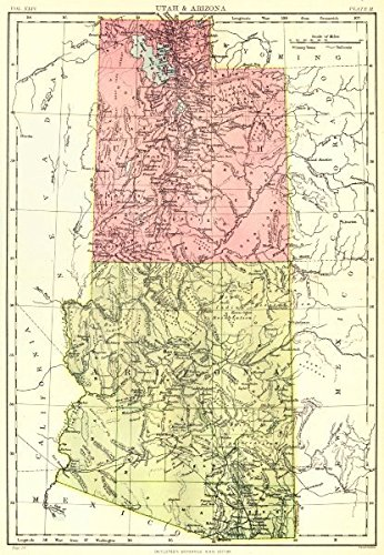 Map Of Utah Arizona.Amazon Com Utah Arizona State Map Britannica 9th Edition 1898