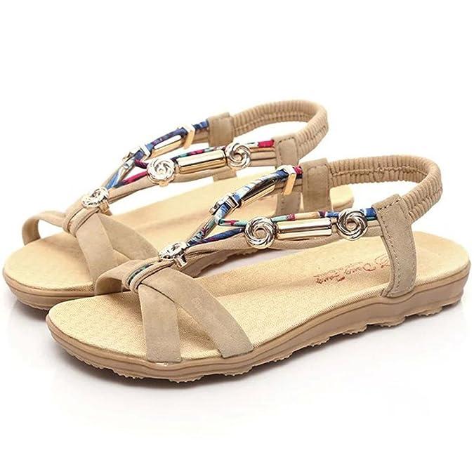 Damen Sandalen Flach Goosun Frau Sommer Praktisches Sandalen Schuhe Peep-Toe Niedrige Schnürschuhe Römisch Sandalen Flip-Flops Slippers Riemchensandalen Flach Strandschuhe Sandalette (36, Rot)