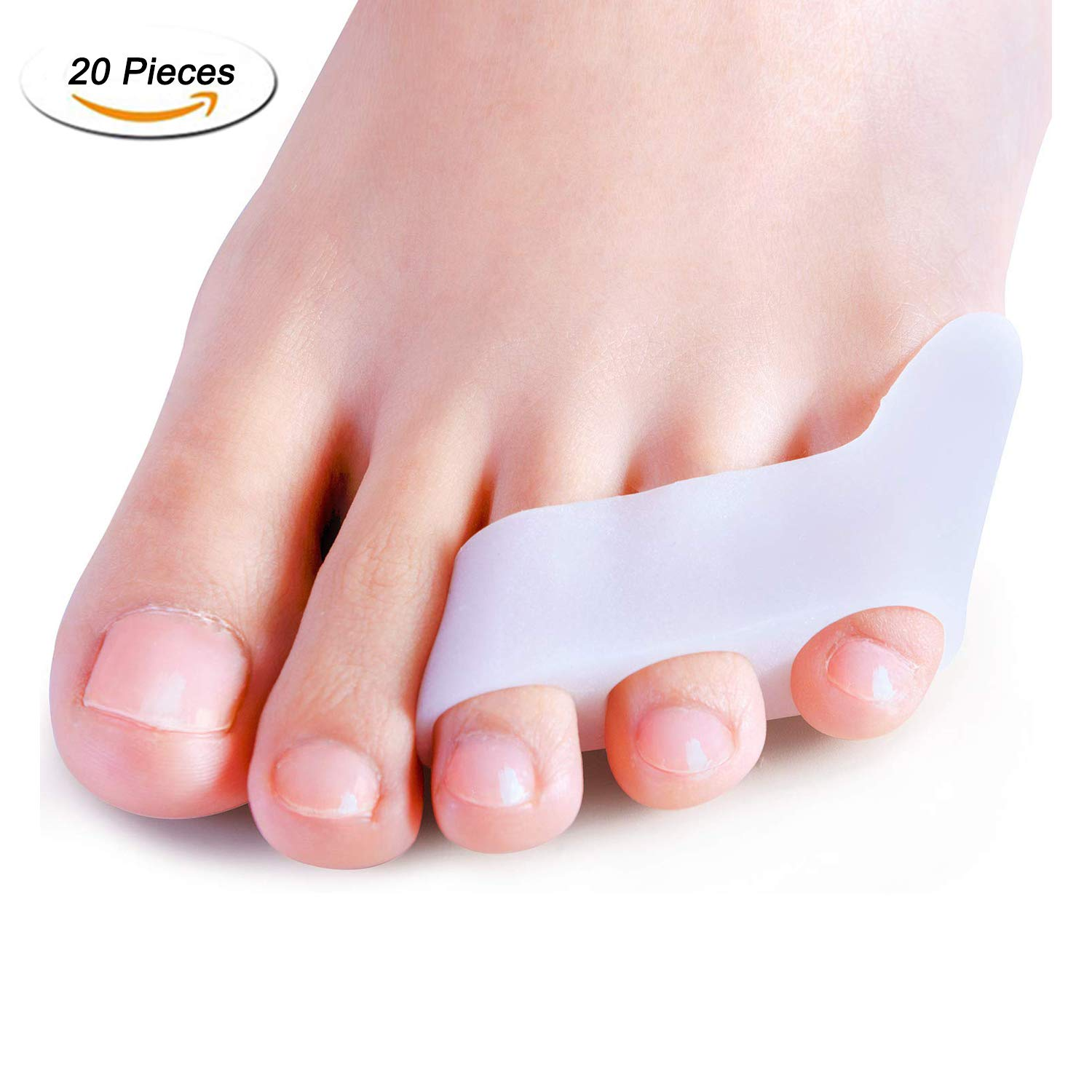 Dr.Pedi 20 Pack Pinky Teo Straightener with 3 Loops for Overlapping Toes Triple Gel Toe Separators Curled Pinkie Toe Bunion Shield by Dr.Pedi