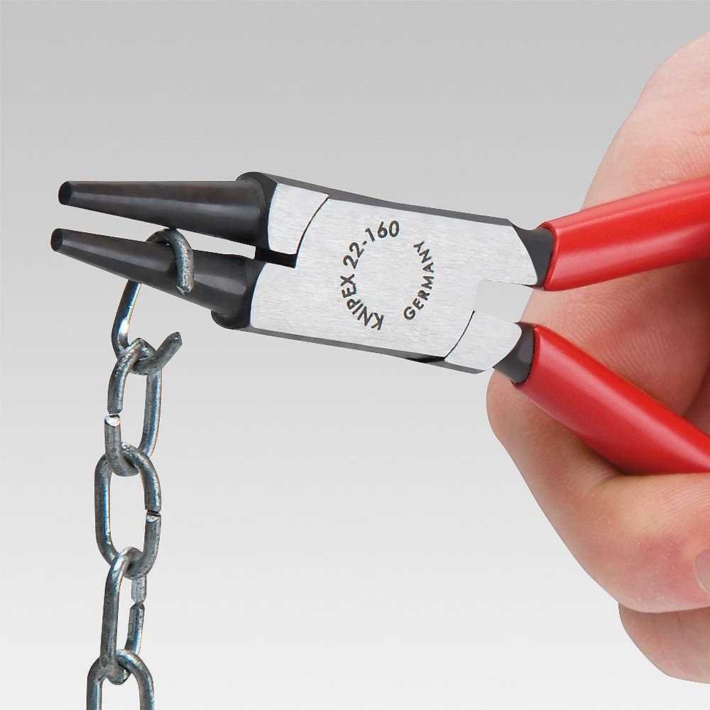 KNIPEX 22 01 125 EAN Alicate de boca redonda negro atramentado recubiertos de pl/ástico 125 mm