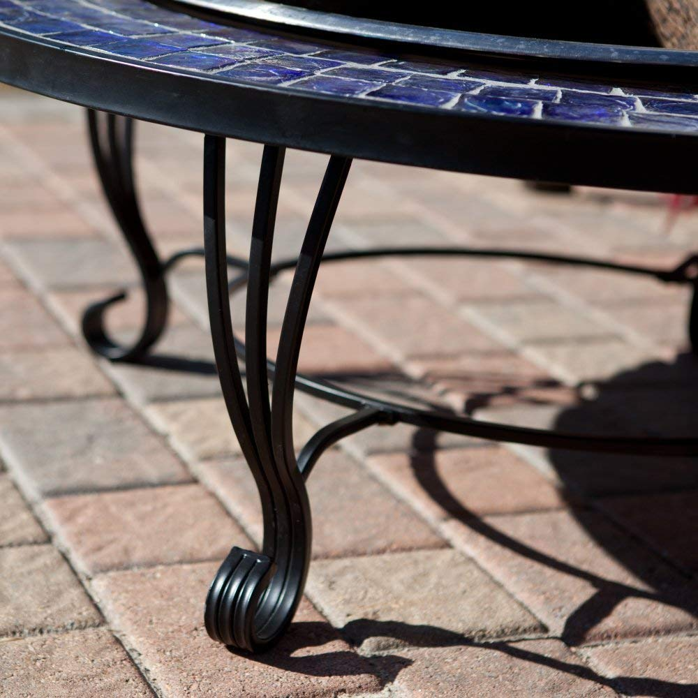 Catalina Creations AD389 40'' Mosaic Fire Pit with Gorgeous Blue Glass Tiles, Durable Stainless Steel Bowl and Elegant Stand Design by Catalina Creations
