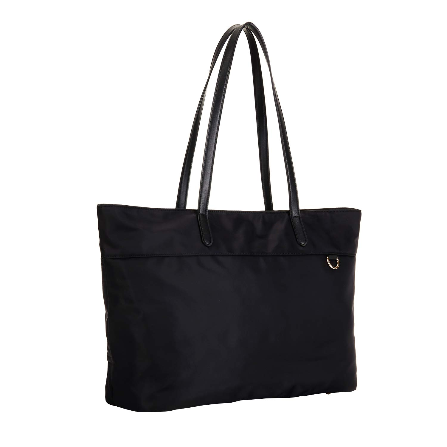 Nylon Shopping Tote Bag with Microfiber Leather Handles, Trolley Strap, Multiple Pockets and Key Clasp for Women Black