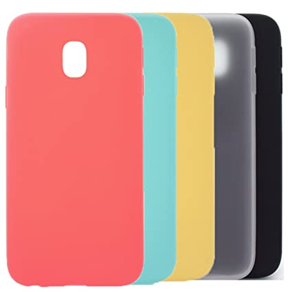 5 X Funda Galaxy J7 2017, WindTeco Carcasa Ultra Delgado Silicona TPU Gel Protector Flexible Cover Funda para Samsung Galaxy J7 2017, Rojo, Azul ...