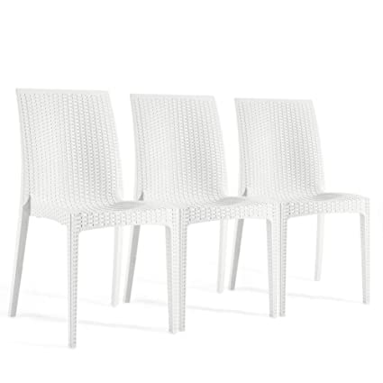 Stupendous Furgle Outdoor Dining Chairs 3 Piece White Rattan Stacking High Back Seating Set Of 3 Woven Seat For Indoor Outdoor Patio Bistro Dining Room Coffee Ncnpc Chair Design For Home Ncnpcorg