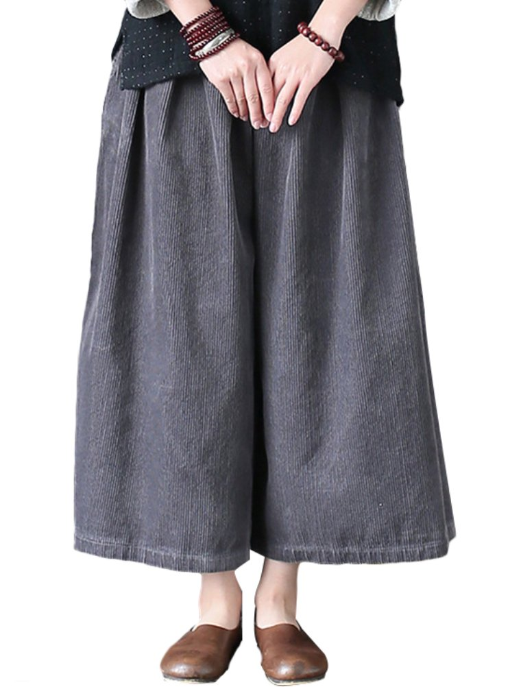 Mordenmiss Women's Wide Leg Culotte Corduroy Pant w/ Side Pockets Gray