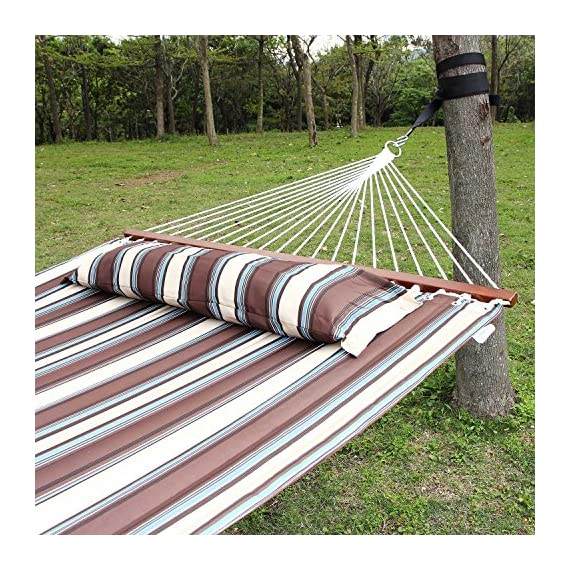 Ollieroo Fall Camp Hammock Quilted Fabric with Pillow Double Size Spreader bar Heavy Duty Stylish 450 lb Brown Stripes - Brand: Ollieroo. The vibrant stripe-colored polypropylene cotton fabric is available in multiple colors and features UV coated protection to help it last. The Hardwood spreader bar varnished in a dark mahogany color for an elegant touch and 20 cotton ropes ensure superior security during your outdoor oasis. - patio-furniture, patio, hammocks - 61txM yyeCL. SS570  -