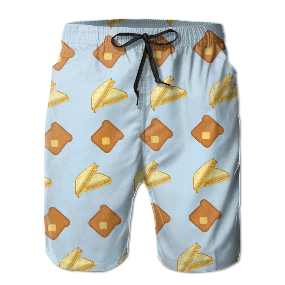 Mens Grilled Cheese Quick-Dry Lightweight Fashion Board Shorts Swim Trunks L by COOA