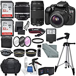 Canon EOS Rebel T6 DSLR Camera with EF-S 18-55mm f/3.5-5.6 IS II Lens, EF 75-300mm f/4-5.6 III Lens, and Deluxe Accessory Bundle