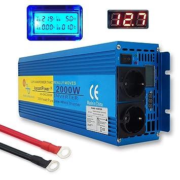 Yinleader Inversor De Corriente Onda Sinusoidal Pura 2000w 4000W Transformador De 12v A 230v convertidor LED LCD Enchufe para Coche Caravana cámping ...