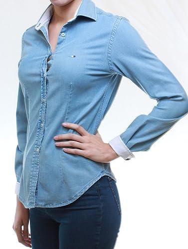 0C382 Camisa tejana en denim mujer corte slim elástica muy suave