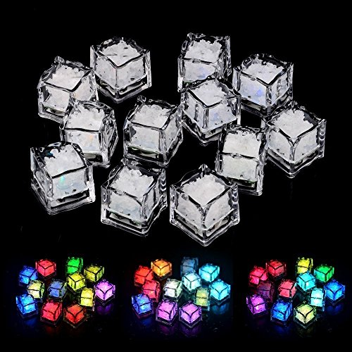 12pcs Water Sensor Multi Colors Changing Led Ice Cubes Event Party LED Luminous Lces for Wedding Decoration (Random Color)
