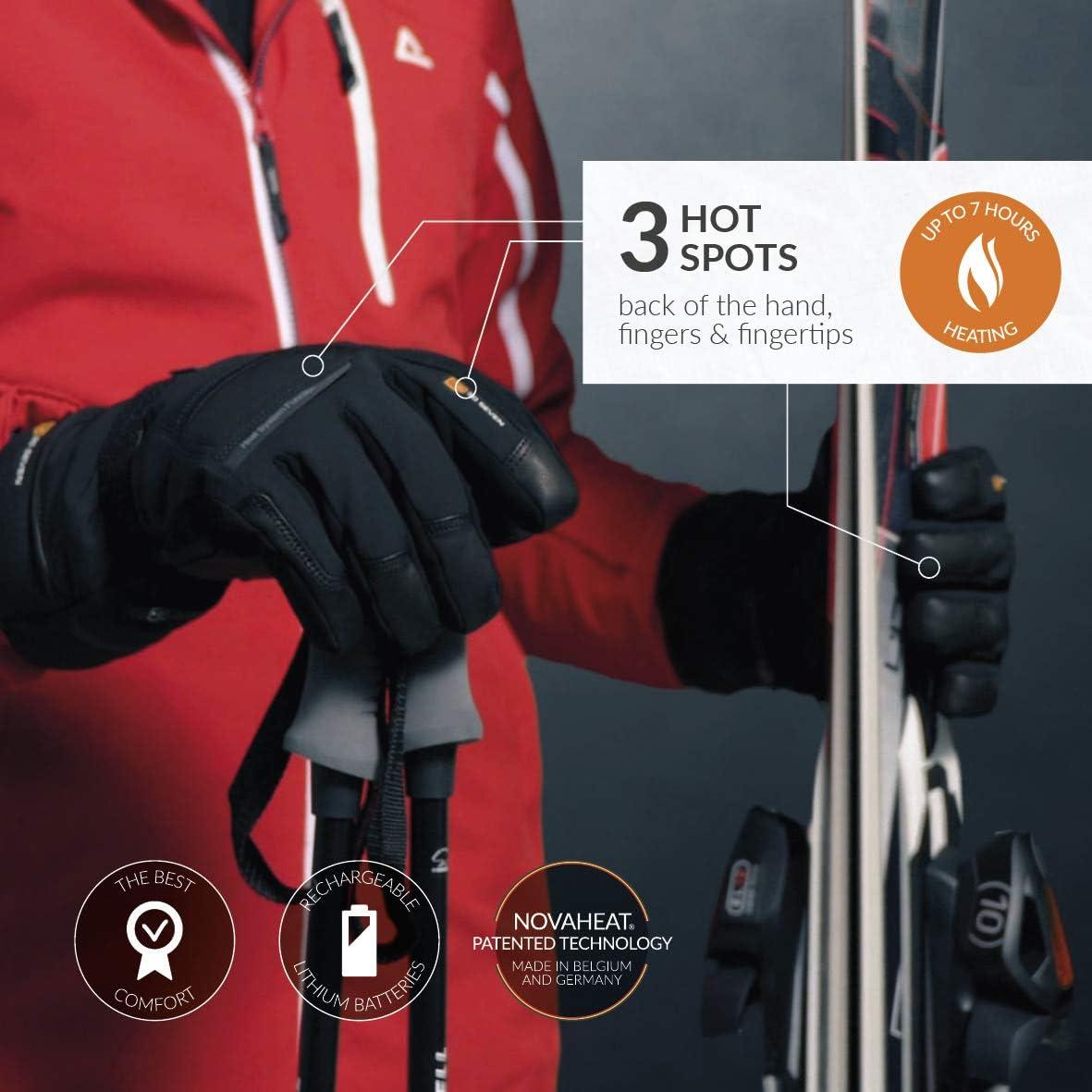 diff/érentes tailles Noir con/çu pour le ski et les temp/ératures extr/êmes doigts chauds imperm/éable au vent imperm/éable /à leau Gants chauffants pour hommes et femmes avec batteries rechargeables