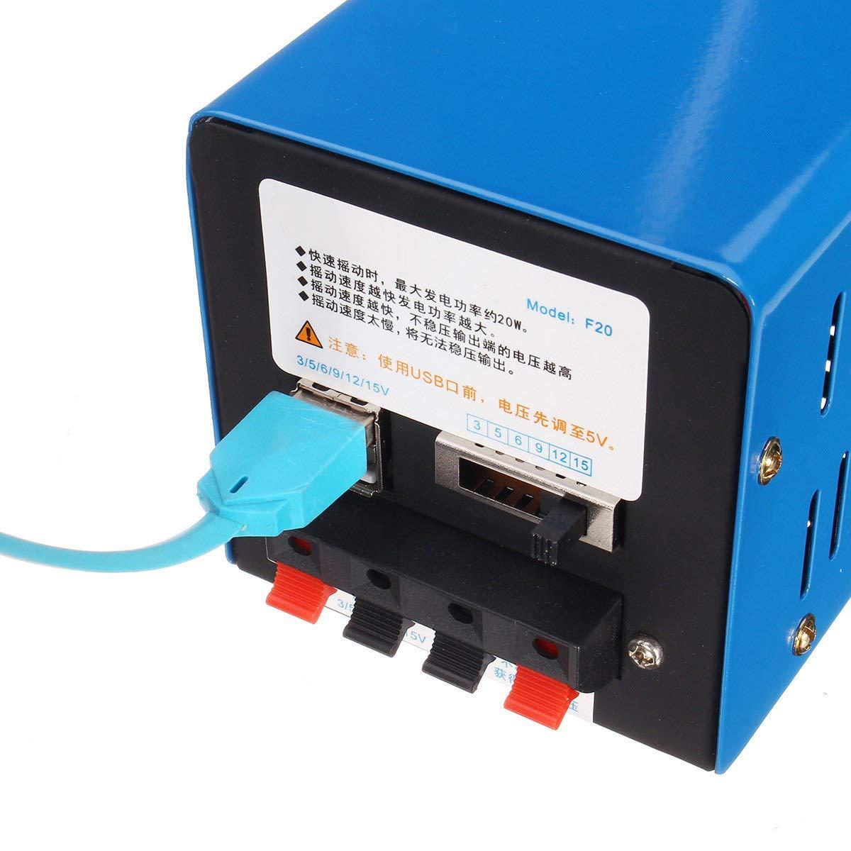 TOOGOO Generador de Manivela de Mano de Emergencia de Alta Potencia Cargador de Mano Port/átil de Emergencia Manivela de Carga USB