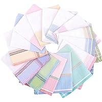 La closure Womens/Girls Soft Woven Stripe Cotton Handkerchiefs Pack Bulk