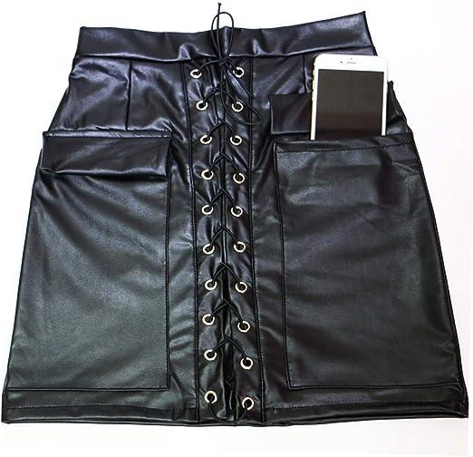 HOTHYJ Wetlook Mujer PVC Látex Mini Falda de Cintura Alta, una ...