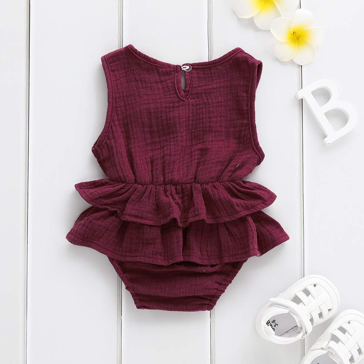 b6a84402539 Amazon.com  Bowanadacles Newborn Baby Girl Romper Jumpsuit Cotton Linen  Sleeveless Ruffled Bodysuit Infant Summer Clothes Outfits  Clothing