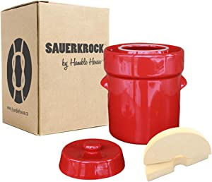 Humble House SAUERKROCK Fermentation Crock with Glazed Weights - 5 Liter (1.3 Gallon) German-Style Water Sealed Jar in Heirloom Red for Fermenting Sauerkaut, Kimchi, Pickles and More