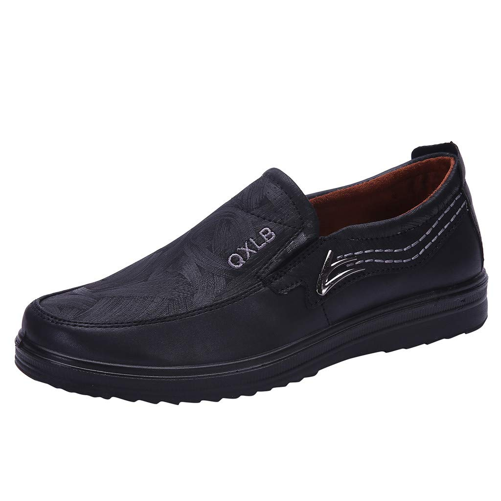 SSYongxia Men's Casual Slip on Breathable Driving Shoes Fashion Slipper - Casual Moccasin Loafers for Men Walking Black